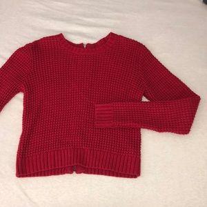 Cozy Zip-Back Knit Sweater